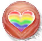 Logo Bewust in alles. Rode cirkel met hartvorm er in, gevuld met regenboog kleuren.